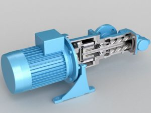 rotary, positive displacement screw pump